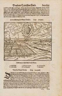 Antike Landkarten, Münster, Deutschland, Sachsen, Dresden, 1574: Contrafhetung der Statt Dresen / Von der Statt Dresen