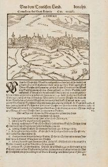 Antike Landkarten, Münster, Deutschland, Sachsen, Leipzig, 1574: Contrafactur der Statt Leiptzig