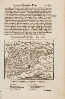 Antike Landkarten, Münster, Deutschland, Thüringen, Gotha, 1574: Abcontrafhetung der Statt Gotha