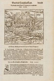 Antike Landkarten, Münster, Deutschland, Hessen, Marburg, 1574: Der berhümbten Statt Martpurg abcontrafactur.