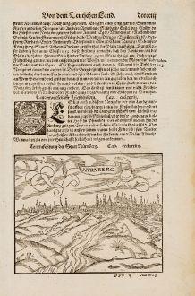 Antike Landkarten, Münster, Deutschland, Bayern, Nürnberg, 1574: Contrafehtung der Statt Nürnberg / Nurnberg