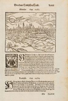 Antique Maps, Münster, Germany, Bavaria, Munich, 1574: München / Munchen