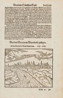 Antike Landkarten, Münster, Deutschland, Bayern, Regensburg, 1574: Contrafehtung der Statt Regenspurg