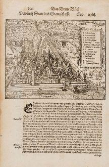 Antique Maps, Münster, Austria - Hungary, Vorarlberg, Feldkirch, 1574: Feldkirch Statt und Graveschaffe