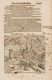 Antike Landkarten, Münster, Schweiz, Graubünden, Chur, 1574: Von dem Hoff zu Chur