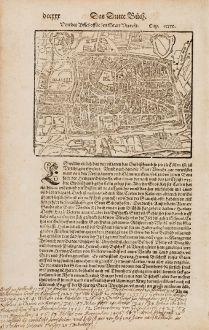 Antike Landkarten, Münster, Niederlande, Utrecht, 1574: Von der Bischofflichen Statt Utrecht
