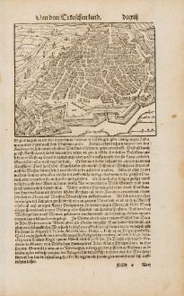 Antike Landkarten, Münster, Belgien, Antwerpen, 1574: [Contrafehtung der Stadt Antorff]