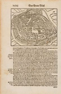 Antique Maps, Münster, France, Bas-Rhin, Strasbourg, 1574: Strassburg