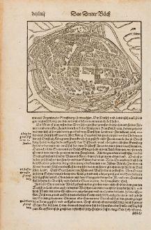 Antike Landkarten, Münster, Frankreich, Straßburg, Strasbourg, 1574: Strassburg