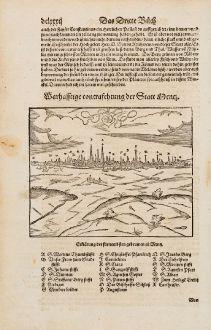 Antike Landkarten, Münster, Frankreich, Moselle, Metz, 1574: Wahrhafftige contrafehtung der Statt Mentz