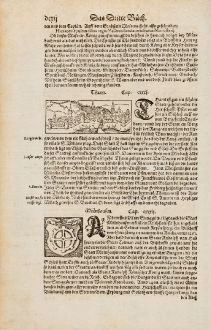 Antike Landkarten, Münster, Frankreich, Elsass, Haut-Rhin, Thann, 1574: Thann