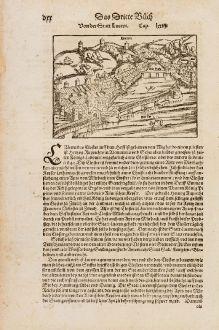 Antike Landkarten, Münster, Schweiz, Lucerne, Luzern, 1574: von der Statt Lucern