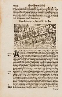 Antike Landkarten, Münster, Schweiz, Zürich, 1574: Die Erste Belagerung der Statt Zürich