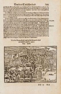 Antike Landkarten, Münster, Schweiz, Zürich, 1574: Von der Statt Zürich unnd vielen Kriegen die sich ihrenthalb verloffen haben