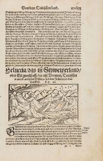 Antike Landkarten, Münster, Schweiz, 1574: Helvetia, das ist Schweitzerland, oder Eidgnoschafft, die Provintz Teütscher nation...