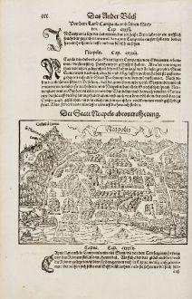 Antike Landkarten, Münster, Italien, Napoli, Neapel, 1574: Neapolis / Der Statt Neaples abcontrafhetung