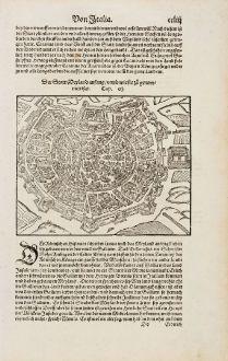 Antike Landkarten, Münster, Italien, Lombardei, Milano, Mailand, 1574: Der Statt Meyland anfang, unnd wie sie zu genommen hat.