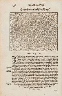 Antike Landkarten, Münster, Belgien, Westflandern, Brügge, 1574: Contrafehtung der Statt Brugk