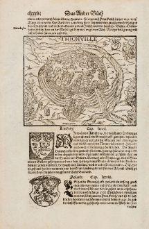 Antike Landkarten, Münster, Frankreich, Diedenhofen, Thionville, 1574: Thionville