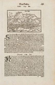 Antike Landkarten, Münster, Frankreich, Jura, Salins-les-Bains, 1574: Saline