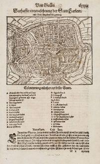 Antike Landkarten, Münster, Niederlande, Haarlem, 1574: Warhaffte contrafehtung der Statt Harlem