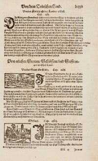 Antike Landkarten, Münster, Frankreich, Elsass, Haut-Rhin, Ensisheim, 1574: Von der Statt Einsheim