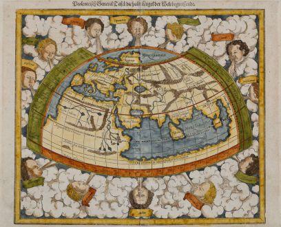 Antike Landkarten, Münster, Ptolemäische Weltkarte, 1588: Ptolemeisch General Tafel, die halbe Kugel der Welt begreiffende
