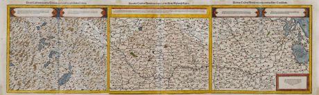 Antike Landkarten, Münster, Deutschland, Rhein, Rheinlauf, 1588: Die erst Tafel, innhaltend das Schweytzerlandt, mit den anstossenden Ländern / Die ander Tafel des Rheinstroms, begreiffend...