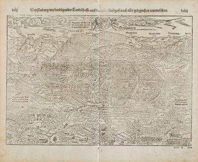 Antike Landkarten, Münster, Frankreich, Elsass, Weißenburg, 1574: Weissenburg mit umbligender Landtschafft auff das allerfleissigest nach aller Gelegenheit Contrafehtet.