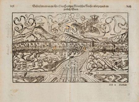 Antique Maps, Münster, France, Alsace, Bas-Rhin, Selestat, 1574: Schletstatt etwan ein Dorff des Heyligen Römischen Reichs aber jetzund ein zierlich Statt
