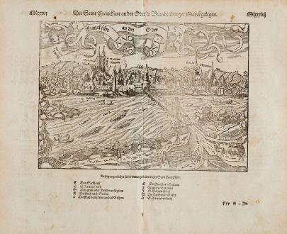 Antike Landkarten, Münster, Deutschland, Brandenburg, Frankfurt an der Oder: Die Statt Franckfurt an der Oder in Brandenburger Marck gelegen