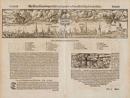 Antike Landkarten, Münster, Deutschland, Niedersachsen, Lüneburg, 1574: Die Statt Lünenburg, nach ihrer Gelegenheit auff das aller fleissigest contrafehtet
