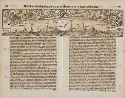 Antike Landkarten, Münster, Deutschland, Schleswig-Holstein, Lübeck, 1574: Die Statt Lübeck, eine auff den fürnemsten Stetten am More gelegen, contrafehtet.