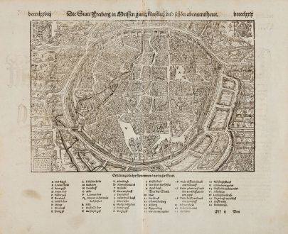 Antike Landkarten, Münster, Deutschland, Sachsen, Freiberg, 1574: Die Statt Freiberg in Meissen gantz künstlich und schön abcontrafhetet