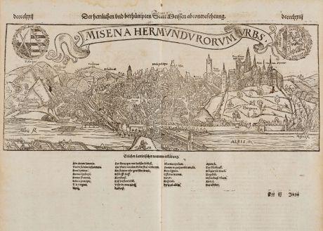 Antike Landkarten, Münster, Deutschland, Sachsen, Meissen, 1574: Der herrlichen und berühmpten Statt Meissen Abcontrafehtung / Misena Hermundurorum Urbs