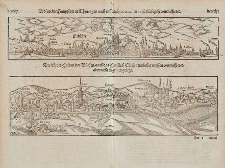 Antike Landkarten, Münster, Deutschland, Erfurt, Fulda, 1574: Erdfurt die Hauptstatt in Thüringen nach eusserlichem Ansehenauffs fleissigest contrafhetet / Die Statt Fuld in der Buchen,...