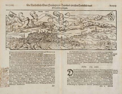 Antike Landkarten, Münster, Deutschland, Bayern, Freising, 1574: Die Bischoffliche Statt Freysingen im Bayerland zwischen Landshut unnd München gelegen