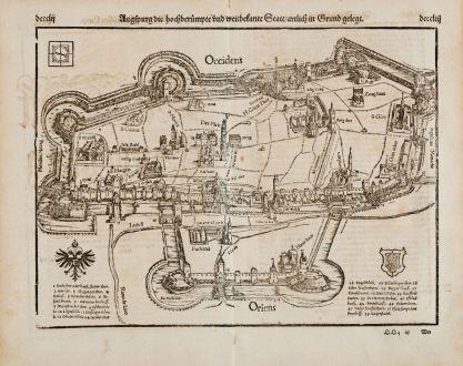 Antike Landkarten, Münster, Deutschland, Bayern, Augsburg, 1574: Augspurg die hochberümpte und weitbekante Statt artlich in Grund gelegt
