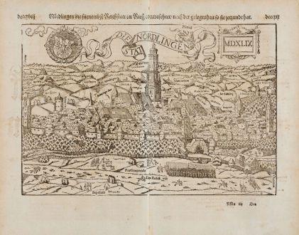 Antike Landkarten, Münster, Deutschland, Bayern, Nördlingen, 1574: Nördlingen die fürnembst Reichstatt im Riesz contrafehtet / nach der gelegenheit so sie jetzundt hat.