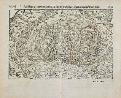 Antike Landkarten, Münster, Frankreich, Elsass, Haut-Rhin, Colmar, 1574: Die Statt Colmar contrafhetet nach aller irer gelegenheit, sampt umbligender Landschafft