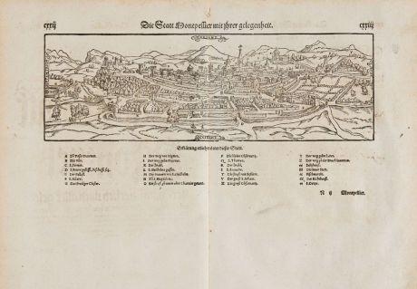Antike Landkarten, Münster, Frankreich, Herault, Montpellier, 1574: Die Statt Montpellier mit ihrer gelegenheit