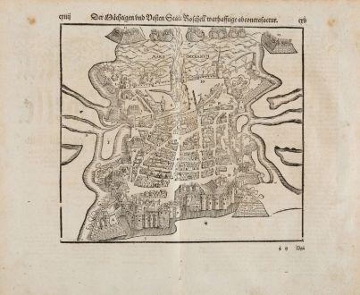 Antike Landkarten, Münster, Frankreich, Charente-Maritime, La Rochelle, 1574: Der Mächtigen und vesten Statt Roschell warhafftige abconcrafactur.