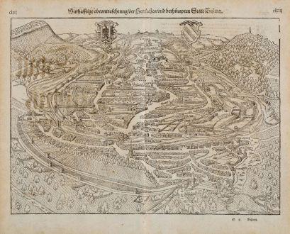 Antike Landkarten, Münster, Frankreich, Doubs, Besancon, 1574: Warhafftige abcontrafehtung der Herrlichen und berhümpten Statt Bisantz