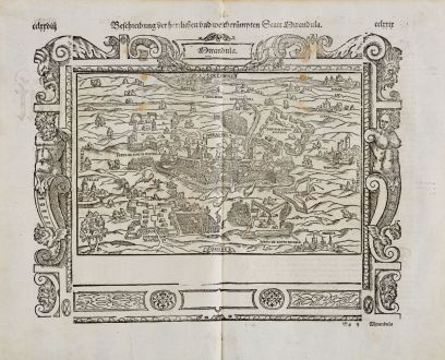 Antike Landkarten, Münster, Italien, Emilia-Romagna, Mirandola, 1574: Beschreibung der Herzlichen und weitberhümten Statt Mirandula