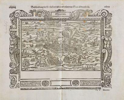 Antique Maps, Münster, Italy, Emilia-Romagna, Mirandola, 1574: Beschreibung der Herzlichen und weitberhümten Statt Mirandula
