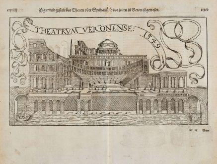 Antique Maps, Münster, Italy, Verona Arena, 1574: Figur und Gestalt des Theatri oder Spilhaus, so vor Zeiten zu Veron ist gewesen / Theatrum Veronense 1549