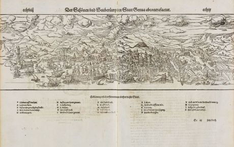 Antike Landkarten, Münster, Italien, Liguria, Genova, Genua, 1574: Der Schönen und Weitberhümpten Statt Genua abcontrafactur.