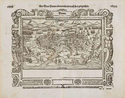 Antike Landkarten, Münster, Italien, Emilia-Romagna, Parma, 1574: Der Statt Parma abcontrafactur nach Ihrer gelgenheit.