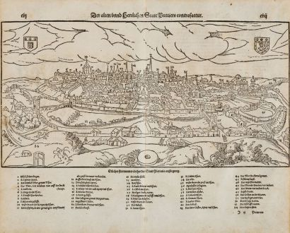 Antique Maps, Münster, France, Vienne, Poitiers, 1574: Der alten unnd herrlichen Statt Puttiers contrafactur
