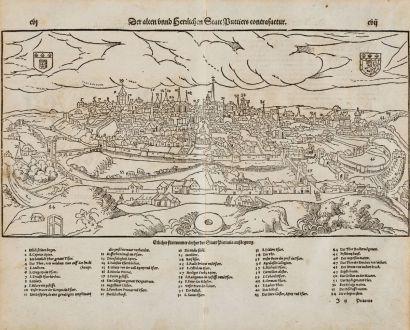 Antike Landkarten, Münster, Frankreich, Vienne, Poitiers, 1574: Der alten unnd herrlichen Statt Puttiers contrafactur